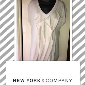 NY&C Stretch Knit Blouse Cream M